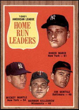 1962 Topps - [Base] #53 - 1961 American League Home Run Leaders (Roger Maris, Mickey Mantle, Harmon Killebrew, Jim Gentile) [EX]