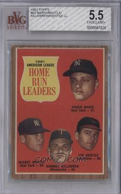 1962 Topps - [Base] #53 - 1961 American League Home Run Leaders (Roger Maris, Mickey Mantle, Harmon Killebrew, Jim Gentile) [BVG 5.5 EXCELLENT+]