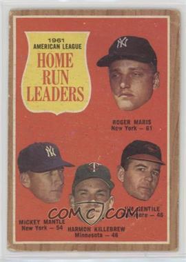 1962 Topps - [Base] #53 - 1961 American League Home Run Leaders (Roger Maris, Mickey Mantle, Harmon Killebrew, Jim Gentile) [PoortoFair]