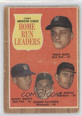 1962 Topps - [Base] #53 - 1961 American League Home Run Leaders (Roger Maris, Mickey Mantle, Harmon Killebrew, Jim Gentile) [Poor to Fair]