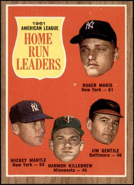 1962 Topps - [Base] #53 - 1961 American League Home Run Leaders (Roger Maris, Mickey Mantle, Harmon Killebrew, Jim Gentile) [EX MT]