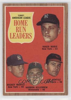 1962 Topps - [Base] #53 - 1961 American League Home Run Leaders (Roger Maris, Mickey Mantle, Harmon Killebrew, Jim Gentile)