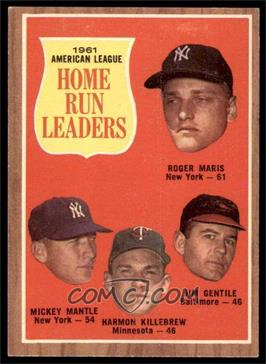 1962 Topps - [Base] #53 - 1961 American League Home Run Leaders (Roger Maris, Mickey Mantle, Harmon Killebrew, Jim Gentile) [EX]