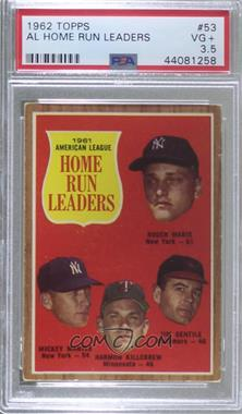 1962 Topps - [Base] #53 - Roger Maris, Mickey Mantle, Harmon Killebrew, Jim Gentile [PSA 3.5 VG+]