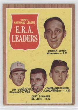 1962 Topps - [Base] #56 - 1961 National League E.R.A. Leaders (Warren Spahn, Jim O'Toole, Curt Simmons, Mike McCormick)