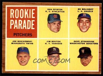 1962 Topps - [Base] #592 - High # - Dan Pfister, Bo Belinsky, Joe Bonikowski, Jim Bouton, Dave Stenhouse [EXMT]