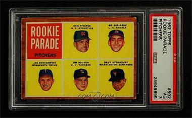1962 Topps - [Base] #592 - High # - Dan Pfister, Bo Belinsky, Joe Bonikowski, Jim Bouton, Dave Stenhouse [PSA3VG]