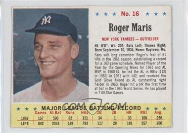 1963 Jell-O - [Base] #16 - Roger Maris [Good to VG‑EX]