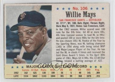 1963 Post - [Base] #106 - Willie Mays [Authentic]