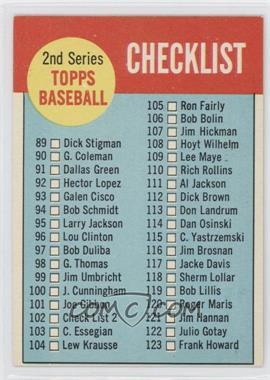 1963 Topps - [Base] #102.2 - 2nd Series Checklist (Black Border on Back)