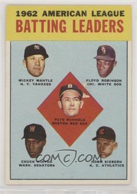 1963 Topps - [Base] #2 - 1962 American League Batting Leaders (Mickey Mantle, Floyd Robinson, Pete Runnels, Chuck Hinton, Norm Siebern) [GoodtoVG‑EX]