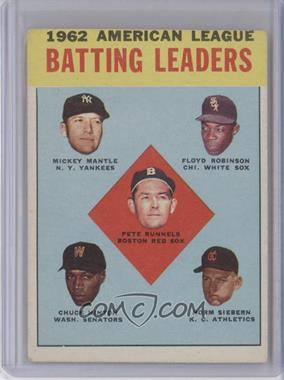 1963 Topps - [Base] #2 - 1962 American League Batting Leaders (Mickey Mantle, Floyd Robinson, Pete Runnels, Chuck Hinton, Norm Siebern) [PoortoFair]