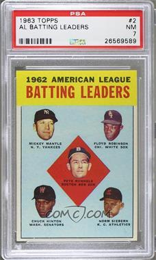 1963 Topps - [Base] #2 - 1962 American League Batting Leaders (Mickey Mantle, Floyd Robinson, Pete Runnels, Chuck Hinton, Norm Siebern) [PSA7NM]