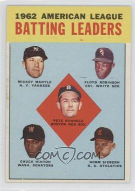 1963 Topps - [Base] #2 - 1962 American League Batting Leaders (Mickey Mantle, Floyd Robinson, Pete Runnels, Chuck Hinton, Norm Siebern)