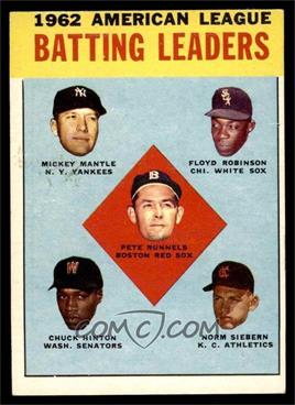 1963 Topps - [Base] #2 - 1962 American League Batting Leaders (Mickey Mantle, Floyd Robinson, Pete Runnels, Chuck Hinton, Norm Siebern) [EX]