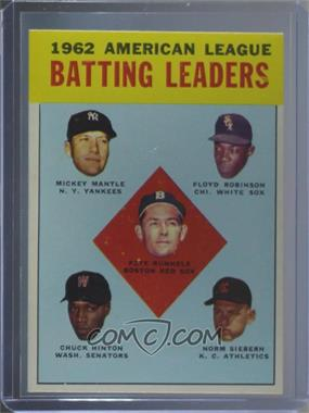 1963 Topps - [Base] #2 - 1962 American League Batting Leaders (Mickey Mantle, Floyd Robinson, Pete Runnels, Chuck Hinton, Norm Siebern) [Altered]