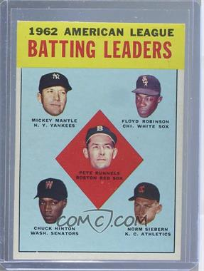 1963 Topps - [Base] #2 - 1962 American League Batting Leaders (Mickey Mantle, Floyd Robinson, Pete Runnels, Chuck Hinton, Norm Siebern) [Altered]