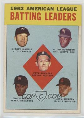 1963 Topps - [Base] #2 - 1962 American League Batting Leaders (Mickey Mantle, Floyd Robinson, Pete Runnels, Chuck Hinton, Norm Siebern) [Poor to Fair]