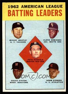 1963 Topps - [Base] #2 - 1962 American League Batting Leaders (Mickey Mantle, Floyd Robinson, Pete Runnels, Chuck Hinton, Norm Siebern) [EX MT]