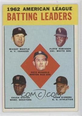 1963 Topps - [Base] #2 - 1962 American League Batting Leaders (Mickey Mantle, Floyd Robinson, Pete Runnels, Chuck Hinton, Norm Siebern) [Good to VG‑EX]