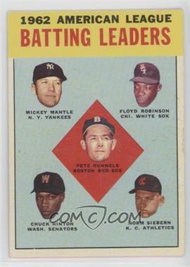 1963 Topps - [Base] #2 - 1962 American League Batting Leaders (Mickey Mantle, Floyd Robinson, Pete Runnels, Chuck Hinton, Norm Siebern)