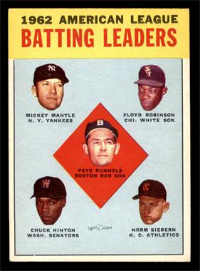 1963 Topps - [Base] #2 - 1962 American League Batting Leaders (Mickey Mantle, Floyd Robinson, Pete Runnels, Chuck Hinton, Norm Siebern) [VG EX]