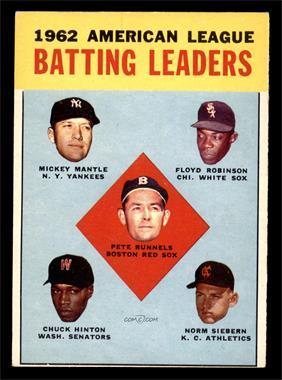 1963 Topps - [Base] #2 - 1962 American League Batting Leaders (Mickey Mantle, Floyd Robinson, Pete Runnels, Chuck Hinton, Norm Siebern) [VG]