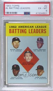 1963 Topps - [Base] #2 - 1962 American League Batting Leaders (Mickey Mantle, Floyd Robinson, Pete Runnels, Chuck Hinton, Norm Siebern) [PSA6EX‑MT]