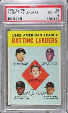 1963 Topps - [Base] #2 - 1962 American League Batting Leaders (Mickey Mantle, Floyd Robinson, Pete Runnels, Chuck Hinton, Norm Siebern) [PSA 6 EX‑MT]