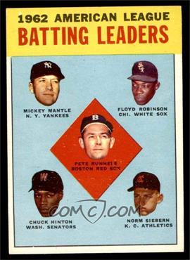 1963 Topps - [Base] #2 - 1962 American League Batting Leaders (Mickey Mantle, Floyd Robinson, Pete Runnels, Chuck Hinton, Norm Siebern) [NM]
