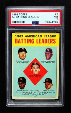 1963 Topps - [Base] #2 - 1962 American League Batting Leaders (Mickey Mantle, Floyd Robinson, Pete Runnels, Chuck Hinton, Norm Siebern) [PSA 7 NM]