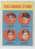 1963 Rookie Stars (Len Gabrielson, Pete Jernigan, Deacon Jones, John Wojcik)