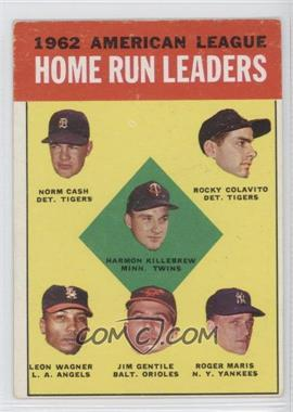 1963 Topps - [Base] #4 - 1962 American League Home Run Leaders (Norm Cash, Rocky Colavito, Harmon Killebrew, Leon Wagner, Jim Gentile, Roger Maris) [Good to VG‑EX]