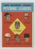 National League Pitching Leaders (Jack Sanford, Bob Purkey, Don Drysdale, Joe J…