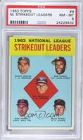 Don Drysdale, Sandy Koufax, Bob Gibson, Turk Farrell, Billy O'Dell [PSA 8]