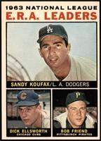 1963 NL ERA Leaders (Sandy Koufax, Dick Ellsworth, Bob Friend) [EXMT]