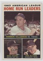 1963 AL Home Run Leaders (Harmon Killebrew, Bob Allison, Dick Stuart)