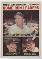 1963 AL Home Run Leaders (Harmon Killebrew, Bob Allison, Dick Stuart) [Good&nbs…