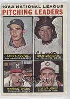 1963 National League Pitching Leaders (Sandy Koufax, Juan Marichal, Warren Spah…