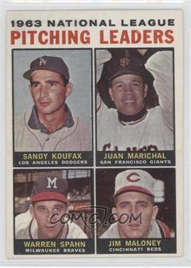 1964 Topps - [Base] #3 - 1963 National League Pitching Leaders (Sandy Koufax, Juan Marichal, Warren Spahn, Jim Maloney)