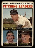 1963 AL Pitching Leaders (Whitey Ford, Camilo Pascual, Jim Bouton) (Apostrophe …