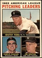 Whitey Ford, Camilo Pascual, Jim Bouton (Apostrophe after Pitching on Back) [EX]