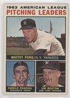 1963 AL Pitching Leaders (Whitey Ford, Camilo Pascual, Jim Bouton) (No Apostrop…