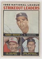 1963 NL Strikeout Leaders (Sandy Koufax, Jim Maloney, Don Drysdale) [Good…