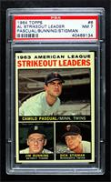 1963 AL Strikeout Leaders (Camilo Pascual, Jim Bunning, Dick Stigman) [PSA …
