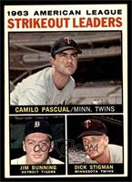 1963 AL Strikeout Leaders (Camilo Pascual, Jim Bunning, Dick Stigman) [EX …
