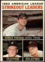 1963 AL Strikeout Leaders (Camilo Pascual, Jim Bunning, Dick Stigman) [EX]