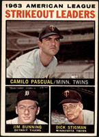1963 AL Strikeout Leaders (Camilo Pascual, Jim Bunning, Dick Stigman) [VG …