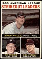 1963 AL Strikeout Leaders (Camilo Pascual, Jim Bunning, Dick Stigman) [VG]