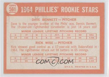 1964 Topps #561 - Phillies Rookie Stars (Dave Bennett, Rick Wise) - Courtesy of COMC.com